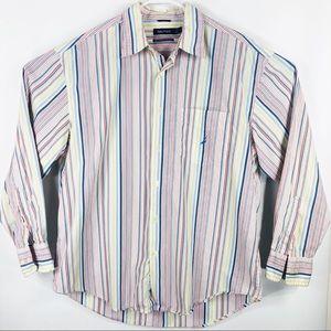 Nautica Mens L Striped button down dress shirt